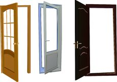 Three isolated doors collection stock illustration
