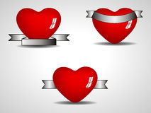 Three isolated heart element Stock Photography