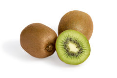 Three isolated kiwi fruits Royalty Free Stock Image