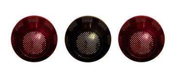 Three round loudspeakers. Three isolated round metal loudspeakers stock image