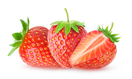 Three isolated strawberries Royalty Free Stock Photos