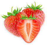Three isolated strawberries stock images