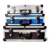 Three isolated suitcases Royalty Free Stock Photography