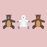 Three isolated teddy bears toys Stock Image