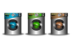 Three isolated washing machines. Set of three isolated washing machines colored in blue, green and brown Stock Photos
