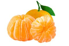 Three isolated whole peeled mandarin on white background. Isolated fruits. Three isolated whole peeled mandarin on white background with clipping path as a royalty free stock photography