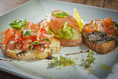 Three italian bruschetta Stock Image