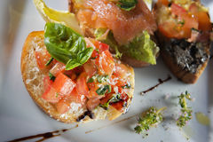 Three italian bruschetta Royalty Free Stock Image