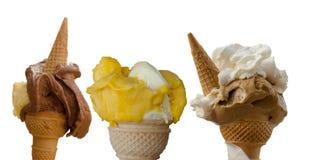 Three italian  ice creams in the waffle cone Royalty Free Stock Photography
