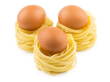 Three italian pasta in form nest and brown egg Royalty Free Stock Photo