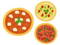 Three Italian pizzas Stock Photo