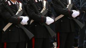 three italian police in full uniform of Carabinieri Army Royalty Free Stock Images