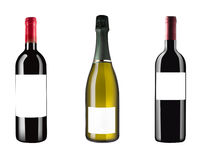 Three italian wine bottles isolated on white background and blan Stock Images