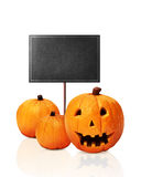 Three Jack O'Lantern And Black Board Stock Image