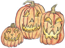 Three Jack-o-lanterns Illustration. Hand-drawn with ink and watercolor, illustration of three Halloween jack-o-lantern pumpkins Stock Photo