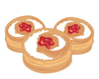 Three jam donuts Stock Image