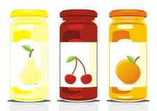 Three jam jars Stock Photo