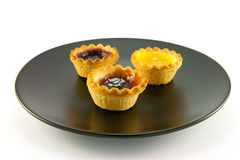 Three Jam Tarts on a Plate Royalty Free Stock Photos