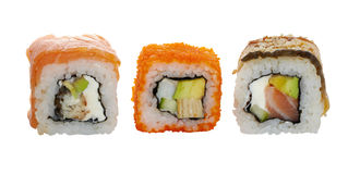 Three japanese maki Royalty Free Stock Photo