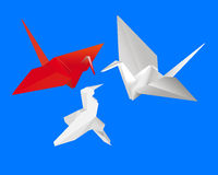 Three Japanese paper cranes Stock Photos