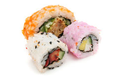 Three Japanese Rice Rolls (Sushi) Royalty Free Stock Photography