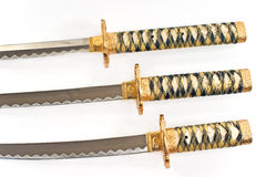 Three Japanese samurai katana swords Stock Images