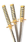 Three Japanese samurai katana swords Royalty Free Stock Images