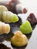 Three Japanese Sauces-Wasabi Mustard and Plum Royalty Free Stock Photo