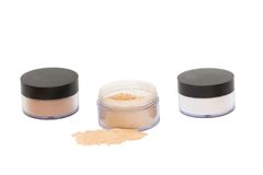 Three  jars with beaty powder isolated Royalty Free Stock Photo