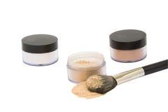 Three  jars with beaty powder isolated Royalty Free Stock Photos