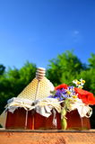 Three jars full of delicious fresh honey, piece of honeycomb honey dipper and wild flowers in apiary Royalty Free Stock Images