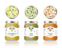 Three jars with labels fruit jam. Three jars mockup. Carambola or star fruit, kiwi, peach jam packaging. Premium design. The flat original illustrations on the stock illustration
