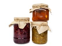 Free Three Jars Of Different Jam On A White Background Royalty Free Stock Photography - 177723687