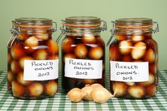 Three Jars Pickled Onions Royalty Free Stock Images