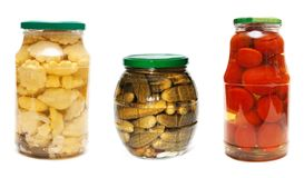 Three jars of pickled vegetables Stock Photography