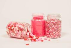 Three Jars of Valentine's Sprinkles Royalty Free Stock Photos