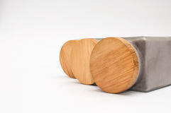 Three jars with wooden covers Stock Photography