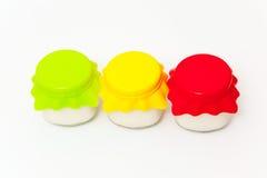 Three jars of yogurt Stock Photography