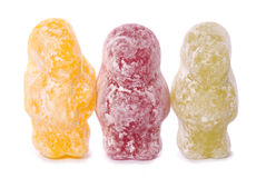 Three jelly babies cutout Stock Photography