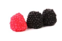 Three jelly fruit  in form of berries candy. Royalty Free Stock Photos