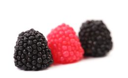 Three jelly fruit in form of berries candy. Stock Photography