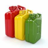Three Jerrycan. Fuel can on white background Stock Photos