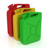 Three Jerrycans Stock Images