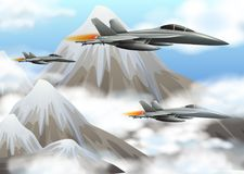 Three jet planes flying over the mountains. Illustration Royalty Free Stock Photo