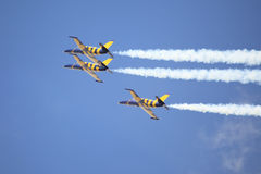 Three jets with smoke trails Stock Photography