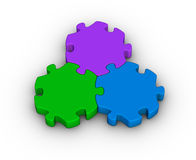 Three jigsaw pieces Stock Photography