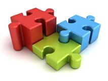 Three jigsaw puzzle pieces concept Stock Photos