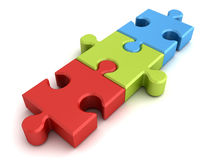 Three jigsaw puzzle pieces concept on white Stock Photo