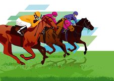 Three jockeys on horses. Colorful illustration of three jockeys riding their respective horses in the midst of a race vector illustration