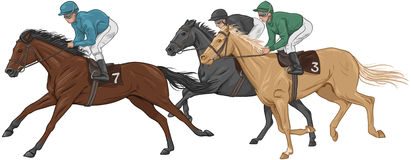 Three jockeys on their racehorses Royalty Free Stock Photos